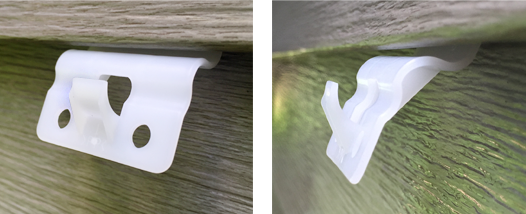 vz hang vinyl siding hooks on home's exterior front and profile view
