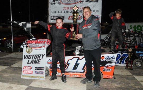 cole shanteau wins first place in mini wedge race at merritt speedway
