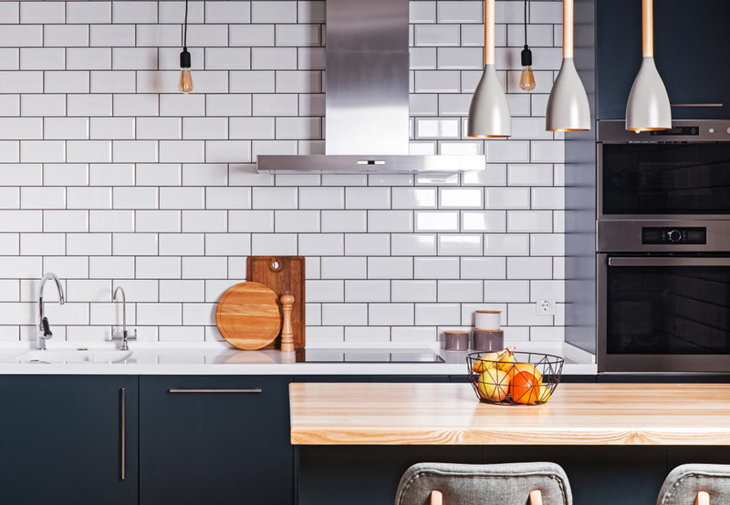 2019 home decor trends and decoration styles features black and white kitchen with subway tile backsplash